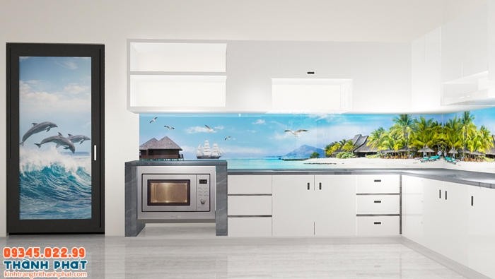 Tranh kính 3D ốp bếp trang trí nội thất